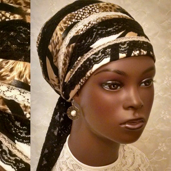 Black lace and animal print sinar tichel, head scarf, head wrap, Jewish hair covering, hair snood, chemo scarf, apron tichel, head covering