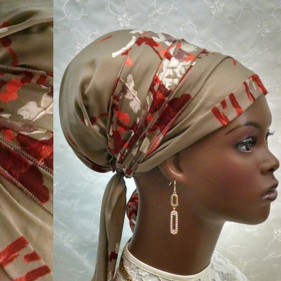 Beautiful lightweight silky sinar tichel, tichels, head wrap, head scarf, hair snood, hair covering, mitpachat, floral, beige, red