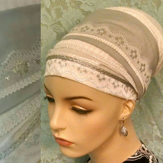 Shabbos kodesh silver sinar tichel, tichels, head wrap, head scarf, chemo scarves, Jewish hair covering, hair snood, lace, mitpachat