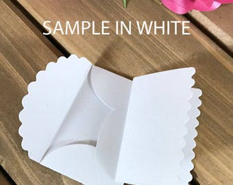 12 Mini Scalloped Envelopes with Matching Card for Wedding or other Occasion