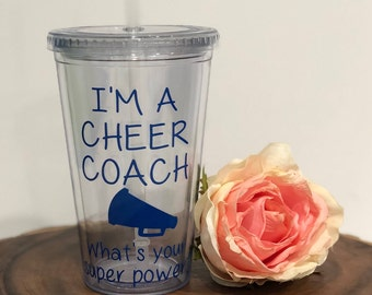 Gift for Cheerleading Coach- Cheerleading Coach Gift- Personalized Gift- Water Tumbler-Christmas Gift- Birthday Gift- Unique Gift Idea