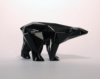 Orso poligonale in ceramica smaltato nero produzione limitata firmato e numerato