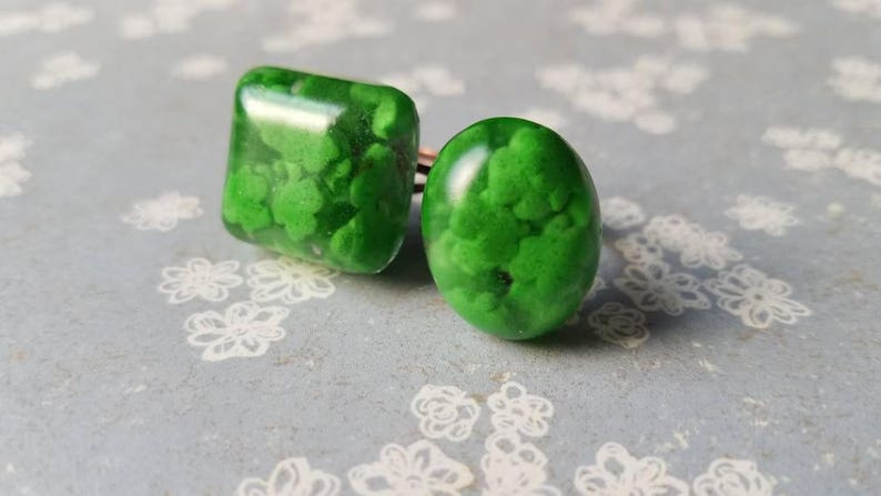 St Patrick/'s Day Irish Green Clover Real Candy Sprinkles Resin Copper Adjustable Ring Oval or Square Patriotic