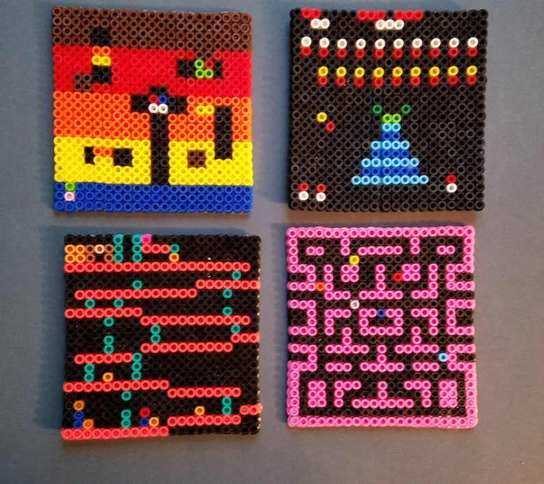 Classic Arcade Games Perler Bead Square Drink Coasters Dig Dug Donkey Kong  Galaga Ms Pacman House Warming Gift
