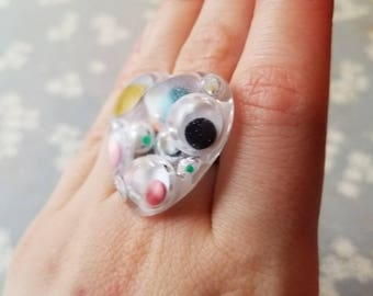 Colorful Googly Eyes Resin Adjustable Copper Ring