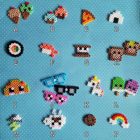Kawaii Cute Tiny Miniature Food Unicorn Nerdy Rainbow Perler Etsy Impressive Cute Perler Bead Patterns