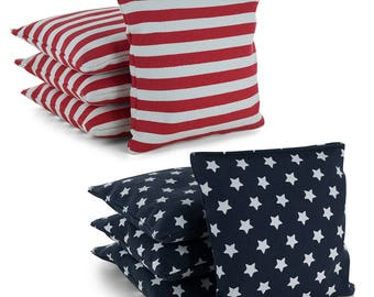 Stars and Stripes Cornhole Bags Set of 8 Regulation American Flag - All Weather or Corn Filled - Free Expedited Shipping