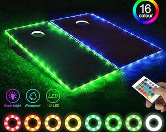 Cornhole Board Night Light Bean Bag Toss LED Edge Lights Lamp for Ring Hole and Board - Set of 2 - Multicolor