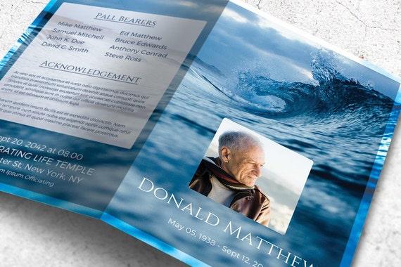 Gedenkstätte Broschüre Vorlage druckbare Funeral Programm mit   Etsy