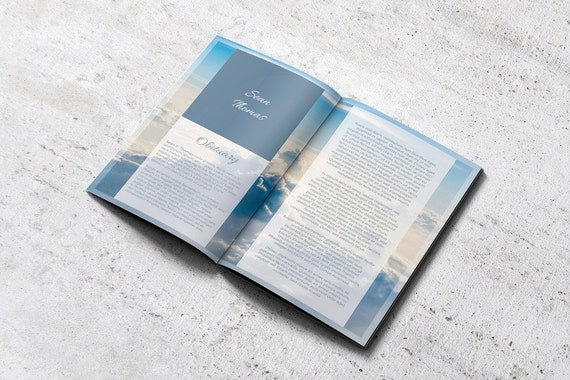 8 page memorial booklet editable with microsoft word funeral etsy