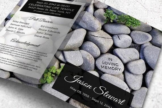 Grau Steindenkmal Programm Beerdigung Vorlage druckbare   Etsy