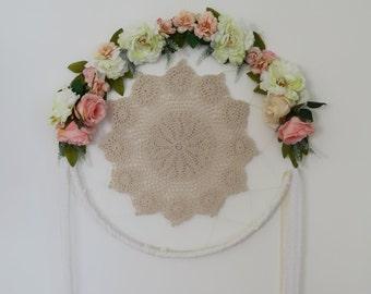 Wedding dreamcatcher wreath, lace dreamcatcher, Apricot, Pink, Beige, Yellow, Cream Bohemian, Boho wedding decor.