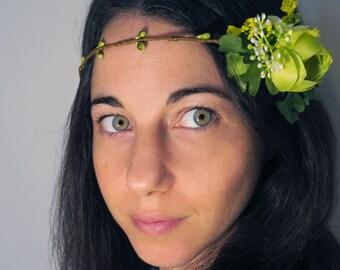 Woodland hair crown, wedding circlet, bridal hair piece, flower hair wreath, floral crown, bridal headpiece green
