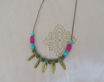 Boho chic necklace, Tribal necklace, beaded necklace, gold feather necklace, hot pink, gold, turquoise necklace.