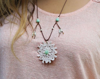 Hippie Boho pendant necklace made with vintage crochet pendant, aqua green  beads, wood beads and some small howlite beads, Hippie jewelry.