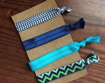 Blue chevron hair elastics/Hair Ties/Green chevron hair elastics/Green and blue hair ties/Gifts for her/Athletic girl gifts/stocking stuffer