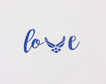 Air force love decal, Air force vinyl decal, vinyl decal, car decal, tumbler decal, Air force family, Air force wife, Air force girlfriend