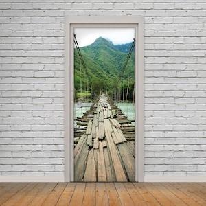 Peel and Stick 3D Effect Door Wrap Vinyl Wallpaper Sticker Self Adhesive Door Wrap Gothic Corridor