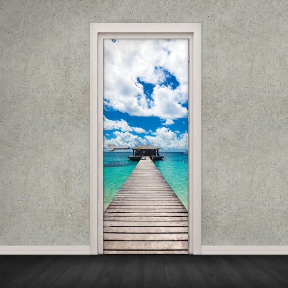 Self Adhesive Door Wrap Vinyl Wallpaper Sticker Beach Hut