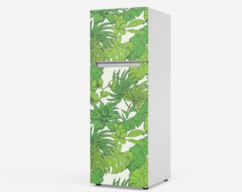 Fridge Wrap / Self Adhesive Vinyl Fridge Decal / Peel And Stick Removable Wallpaper / Refrigerator Wrap / Jungle Plants and Leaves Pattern