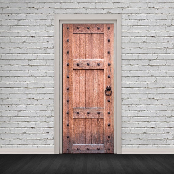 Self Adhesive Door Wrap Sticker Old Strong Wooden Door Peel And Stick 3d Effect Door Wrap Hd Removable Vinyl Wallpaper