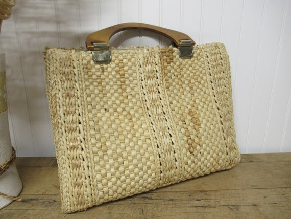 Made in Italy Vintage Terry Cloth /& Straw Beach Bag with Hat
