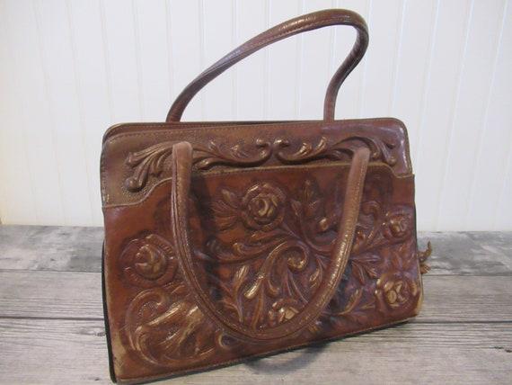 MONT ABUR Leather Tooled Purse,, VINTAGE Handbag,,