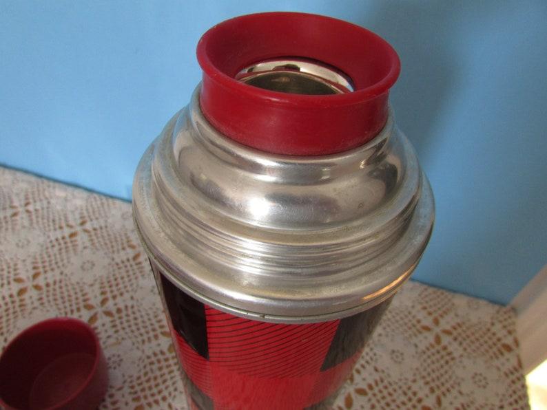 Picnic Travel Thermos, VINTAGE Plaid Thermos, VTG Coffe Or Tea Thermos THERMOS Metal
