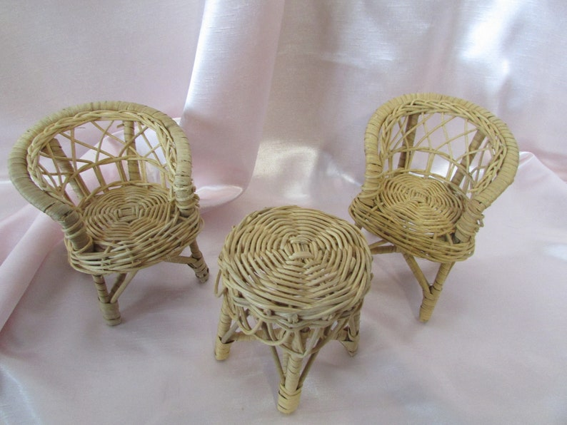 Wicker Set (2) Chairs And Table,, VINTAGE Wicker Chair And Table,, Doll  Furniture