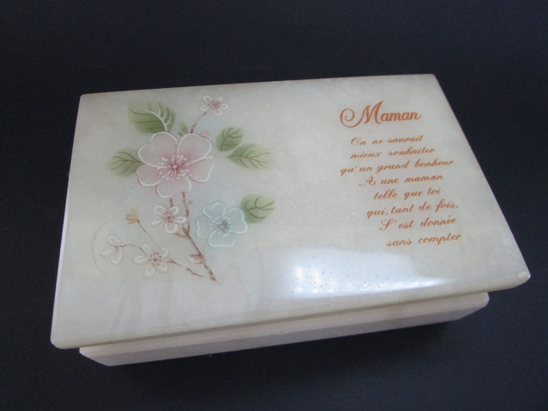 Marble Jewelry Box Vintage Alabaster Trinket Box Mother S Day Gift Vtg Rectangular Jewelry Box Holder Free Shipping Canada And U S A