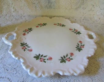 Large VINTAGE Tray Platter, VTG Pink Floral Rose Plate, Mid Century Shabby Chic Decor, Victorian style Decorative plate