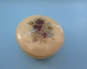 Genuine Alabaster Made In Italy, VINTAGE Jewelry Box, vintage Cream With Purple Pansy Design, Mid Century Keepsake Trinket Box