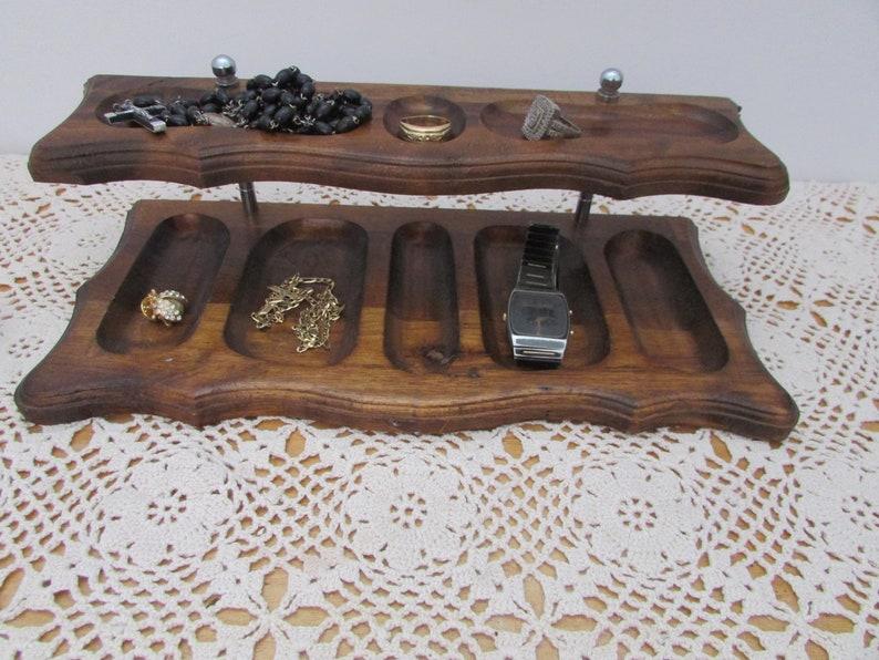 Mid-Century Jewelry Holder For Men VTG Organizer Station Retro, VINTAGE Wooden Valet Tray,
