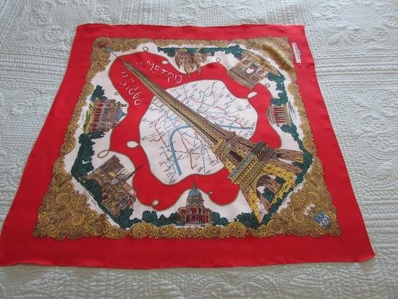 VINTAGE J.Mico Sancho Scarf VTG Red And White Paris Metro   Etsy 0b87eeb6166