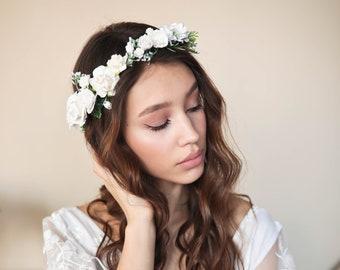 Girls Flower Crown in White Baby White Headband Flower Girl Headpiece Girls Crown Photo Prop Bridesmaid  Wreath Head Piece