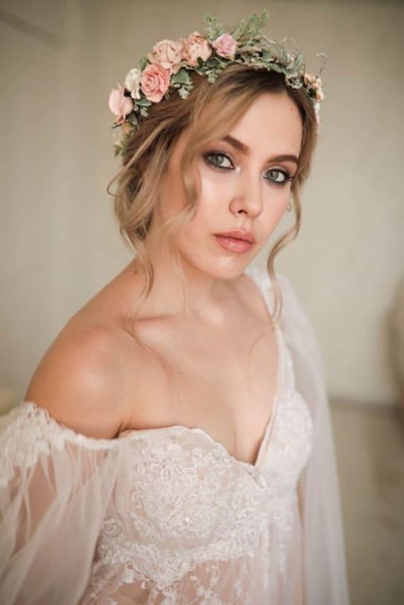 hairpiece Bridesmaid flower headpiece Rustic wedding crown Bridal flower crown 17 flowers Coral flower crown Mustard floral crown