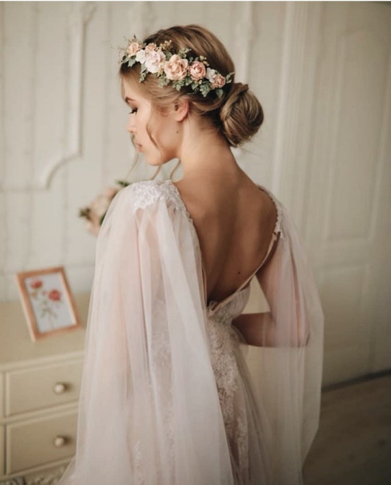 Blush Flower Crown Wedding Flower Crown Blush Floral Crown Bridal Flower Hair Piece Blush Wedding Crown Bridesmaid Crown Flower Girl Crown