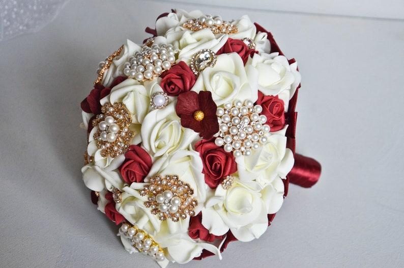 Gold Burgundy Ivory Foam Bouquet Brooch bouquet wedding Fabric bouquet Unique wedding bouquet Rose champagne burgundy bridal bouquet