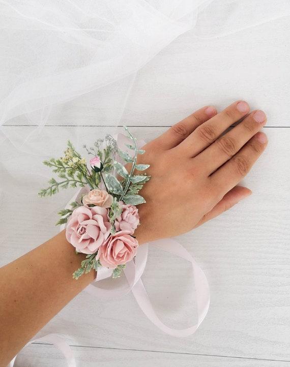 Bridesmaids Pink Rose Elegant Beautiful Wrist Corsage WC14 Accessory for Bride Mother Wedding Grandmother Beach Wedding