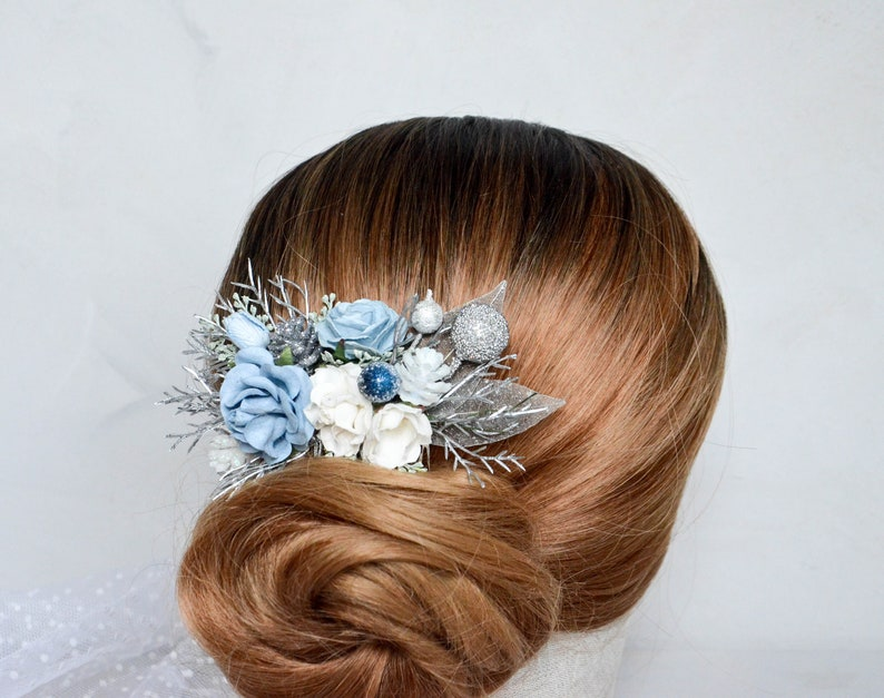 Christmas hair piece Winter hair comb Blue