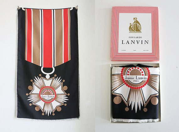 Jeanne Lanvin Silk scarf with medal very rare 70s