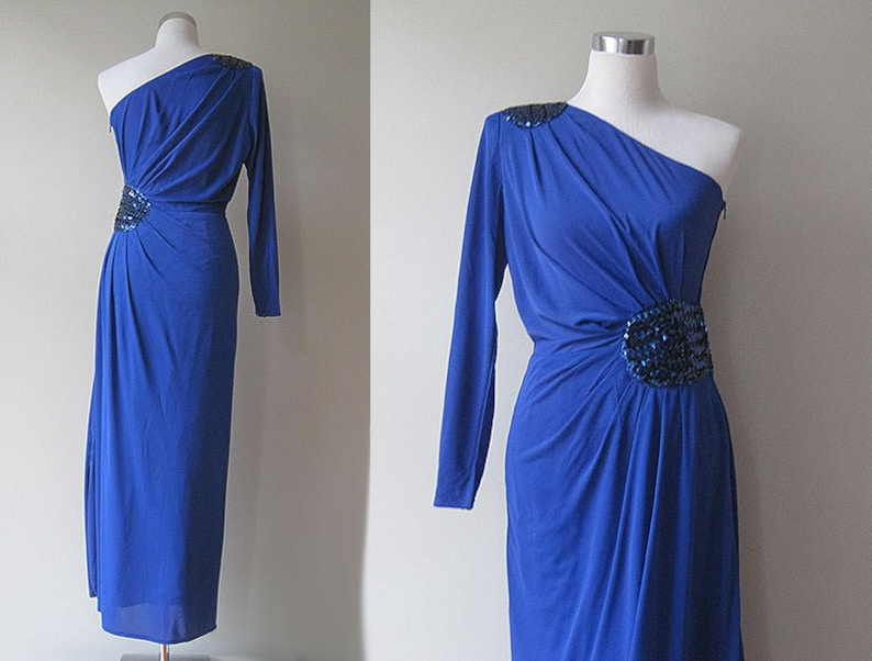 Glamorous partydress electric blue one-shoulder S