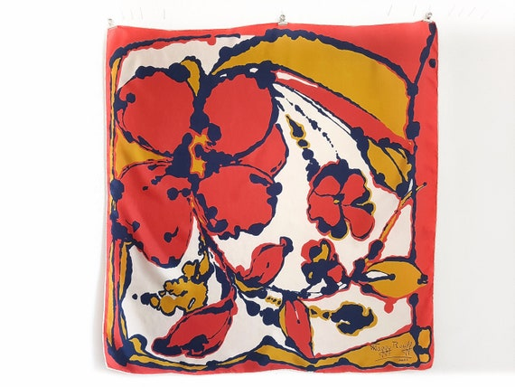 Maggy Rouff vintage silk scarf with a floral, pict