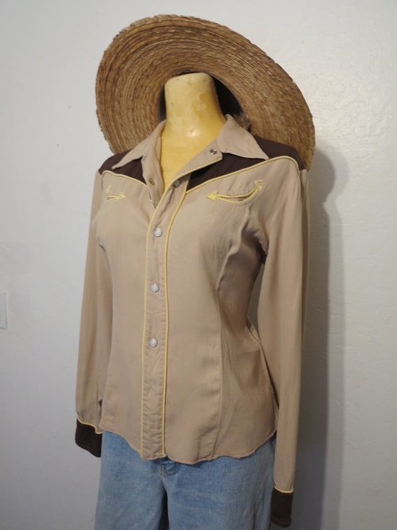 Vintage 40's California Ranchwear Brown + Yellow … - image 5