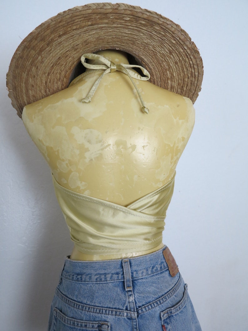 Handmade 1970/'s Style Vintage Metallic Gold Fabric Boho Bombshell Babe Halter Tie Top One Size Fits All