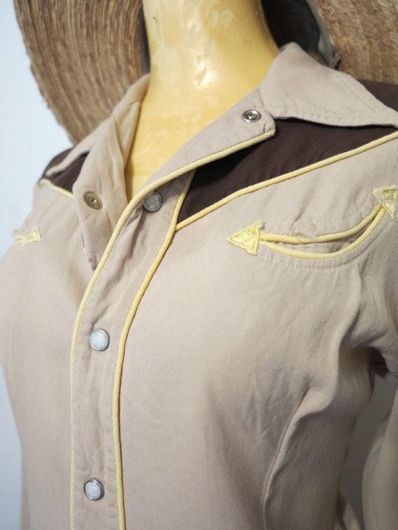 Vintage 40's California Ranchwear Brown + Yellow … - image 8