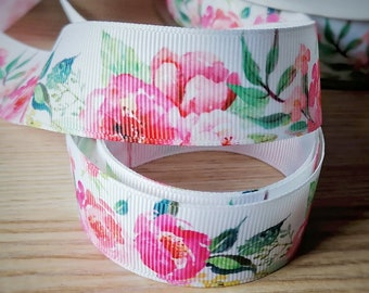 giftwrap ribbon 25mm Watercolor Poppies Grosgrain Ribbon Ribbon for hairbows 1 inch grosgrain ribbon--Sold by the yard.