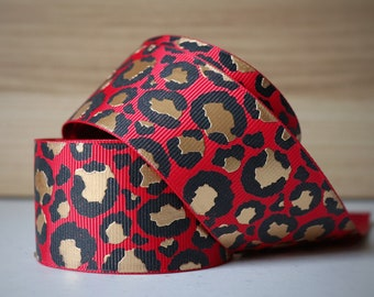 1.5 inch (38mm) Red with Gold Foil Lux Leopard grosgrain ribbon--Sold by the yard.