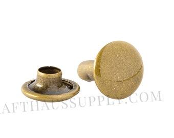 10mm (cap diameter) x 10mm (post length) Antique Brass Rivets. 5, 10, or 25 PACK. US Shipping, bulk discounts!