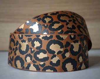 1.5 inch (38mm) Camel with Gold Foil Lux Leopard grosgrain ribbon--Sold by the yard.